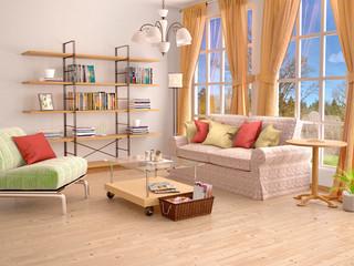 Sunny living room interior. 3d illustration.