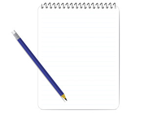 bule Pencil and notepad .vector