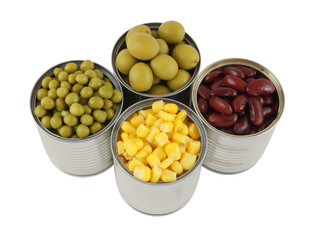 Canned food isolated on white