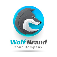 Vector illustration of a wolf logo. Creative colorful abstract design. Template for your business company