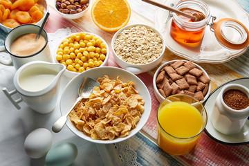 Breakfast healthy cereal coffee and orange juice