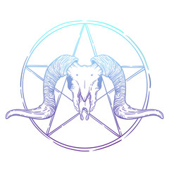 Ram skull vector illustration. occult symbol. sheep and star in a circle.