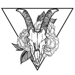 goat skull vector illustration. occult symbol. goat devilish magical symbol and Flowers peonies and roses in the triangle