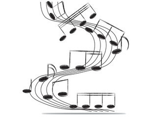 Musical notes staff background on white. Vector illustration.