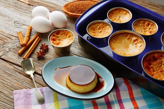 Custard Creme Caramel Flan dessert bain marie