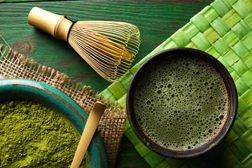 Matcha tea powder bamboo chasen and spoon