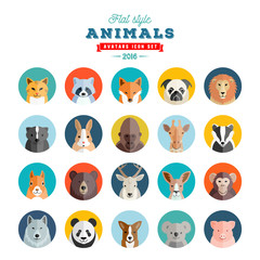Flat Style Animals Avatar Vector Set. Twenty Icons.