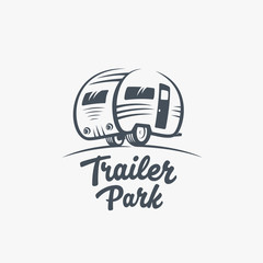 Trailer or Van Park Vector Logo Template. Silhouette Tourism Icon. Label with Retro Typography.