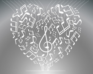 Vector black and white music background with treble clef of hear