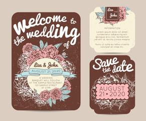 Botanic invitation set with rsvp card. Beautiful invitation decorated with peonies