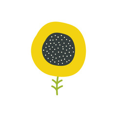 Simple sunflower icon. Hand drawn single flower. Vector illustration.