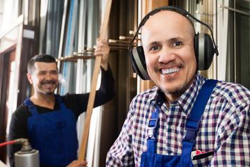 The employee in headphones
