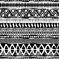 Abstract tribal black and white vector seamless ornament. Cloth boho texture