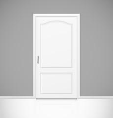 White realistic closed door in empty room interior
