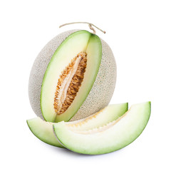 green melon fruit isolated on white background..