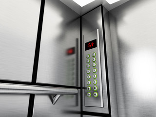 Elevator panel with buttons and LCD display. 3D illustration