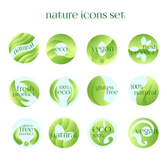 Set of Green Labels for Fresh,Vegan,Eco,Organic,Natural Products. Vector Design Isolated on White Background.