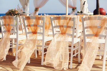 A lot of wedding chairs