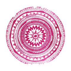 Mandala. Abstract round purple watercolor vector ornament.