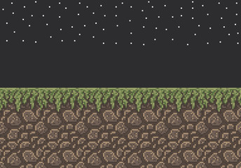 Vector pixel art illustration sprite - stone dirt with grass texture night time stars