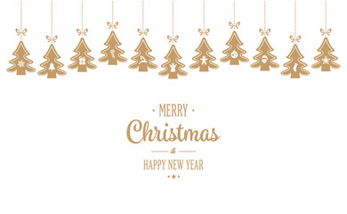 merry christmas hanging gold trees isloated background