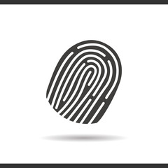 Fingerprints icon. Drop shadow silhouette symbol.