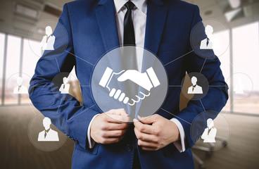 Businessman pushing button handshake icon web