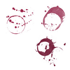 Red Wine Stains Dots on white background