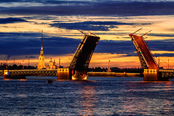 The Palace Bridge on Neva river, St Petersburg, Russia