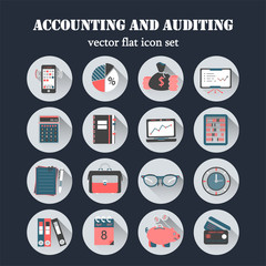 Bookkeeping vector flat icons.