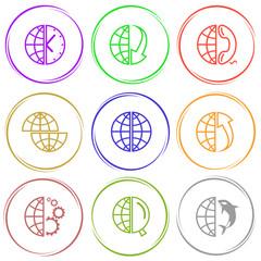 globe and clock, globe and array down, globe and phone, shift gl