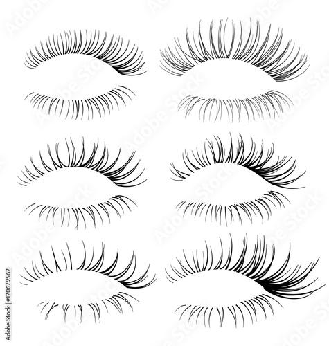 Set of eyelash brushes. Eyelash texture