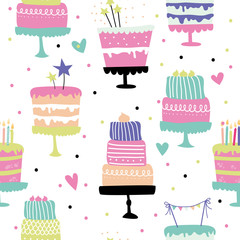 Cute vector seamless pattern with birthday cakes