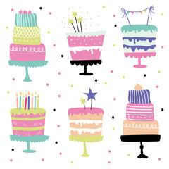 Cute vector birthday cakes set