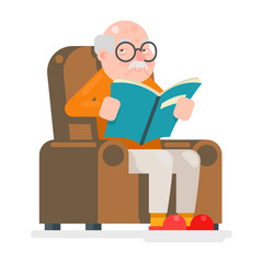 Old Man Characters Read Book Sit Chair Adult Icon Flat Design Vector Illustration