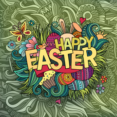 Easter hand lettering and doodles elements