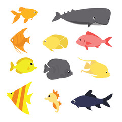 fish icon set vector exotic sea creature color-full fun drawing