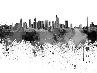 Fotomurales - Frankfurt skyline in black watercolor on white background