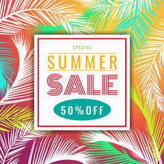 Summer sale discount banner  - colorful coconut palm leaf abstract vector illustration design