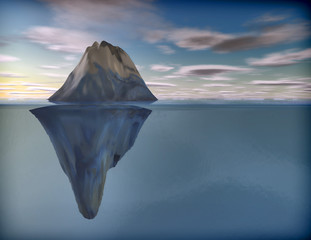 Iceberg under water stylized 3D illustration.