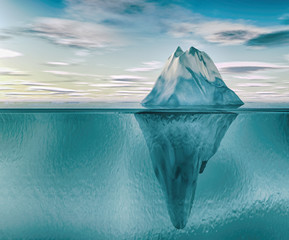 3D illustration of iceberg under blue water.