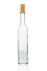 Empty vintage bottle with cork on white background