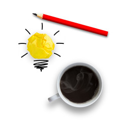 Idea concept with light bulb pencil and a cup of coffee, idea concept