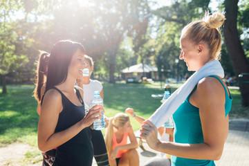 Women talking after workout