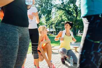Women talking after workout