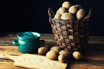 Potatoes in old rustic kitchen