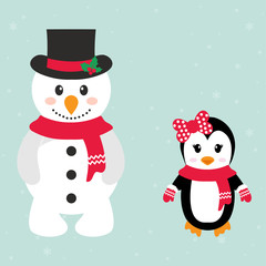 cartoon snowman and penguin