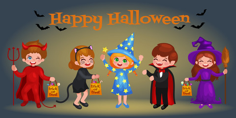 Happy Halloween. Set of cute cartoon children in colorful halloween costumes: Dracula, girl dressed as a pumpkin, sorceress, devil , witch , cat