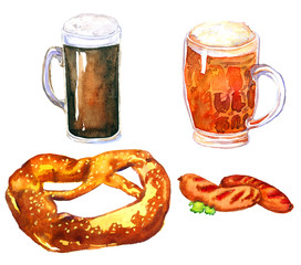 Hand Painted Watercolor Illustration: Beer and snacks (pretzel and sausages)