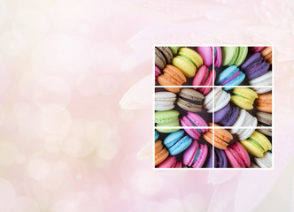 Photo frame of colorful macarons 1
